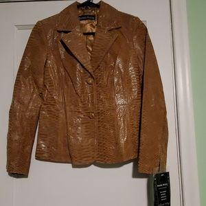 NWT Snakeskin Print Leather Jacket